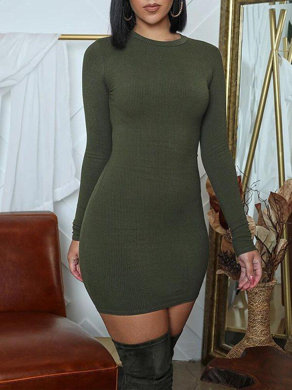 Solid Ribbed Bodycon Dress
