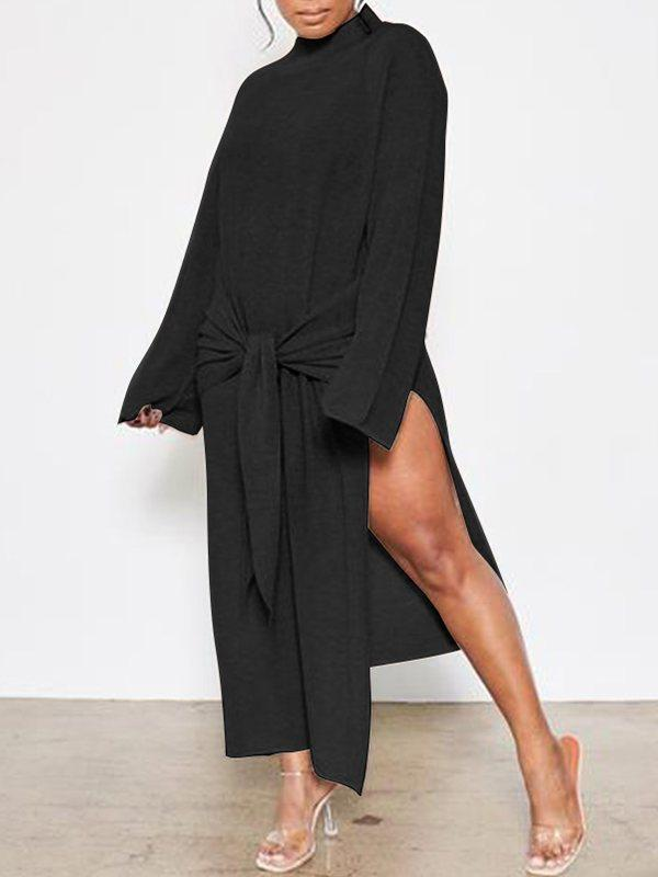 Tied-Front Slit Dress