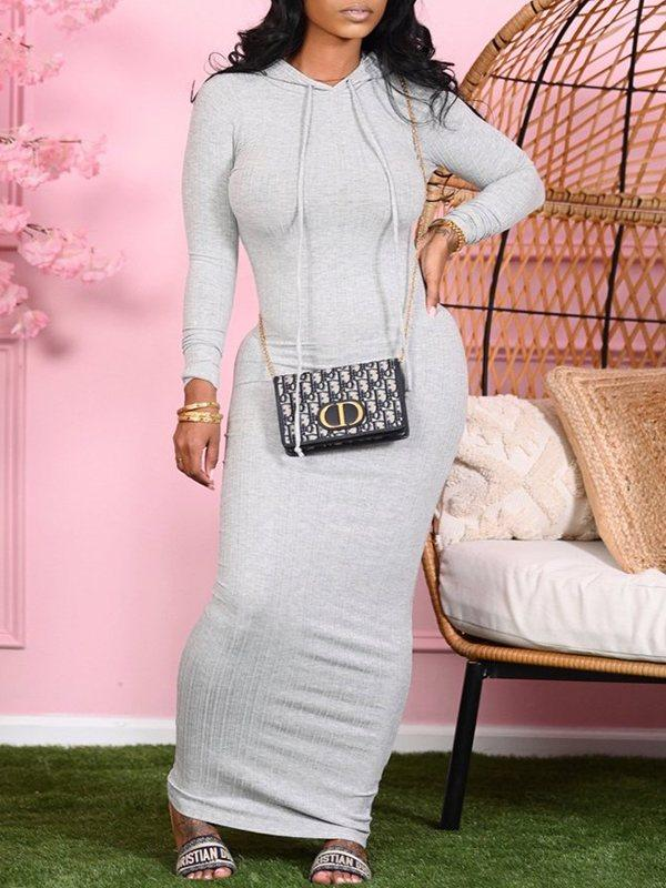 Solid Ribbed Hoodie Dress