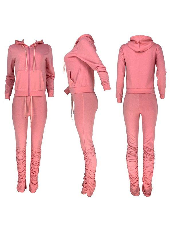 Zip-Front Hoodie & Ruched Pants Set
