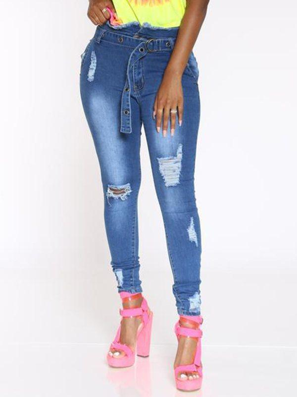 Distressed Belted Jeans