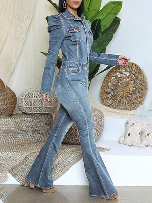 Puff-Sleeve Flared-Leg Denim Jumpsuit