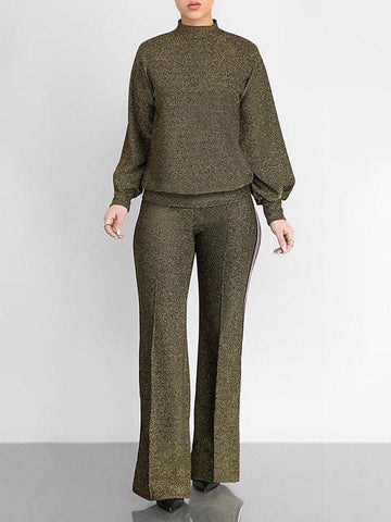 Solid Turtleneck Top & Pants Set