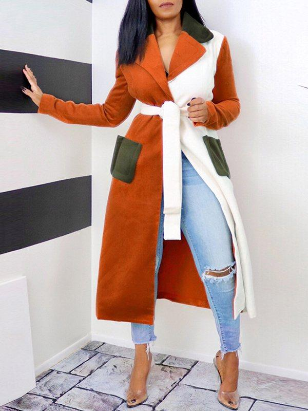 Colorblock Belted Trench