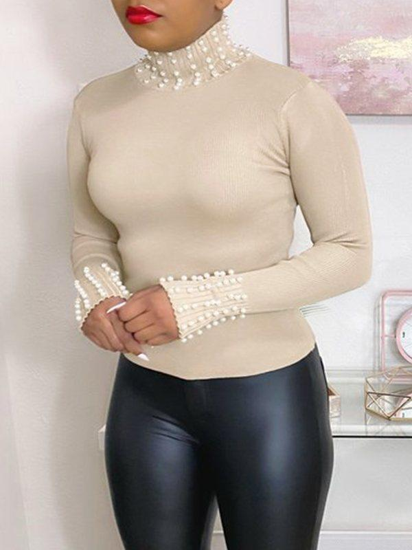 Pearl-Studded Turtleneck Top