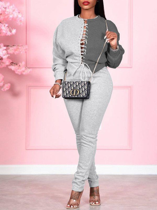 Lace-Up Sweatshirt & Pants Set