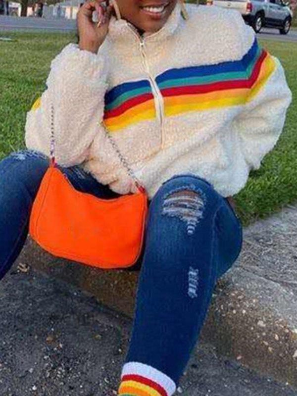 Rainbow Fuzzy Jacket