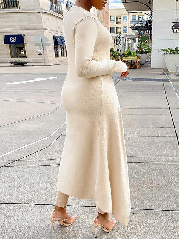 Solid Ribbed Slit Dress