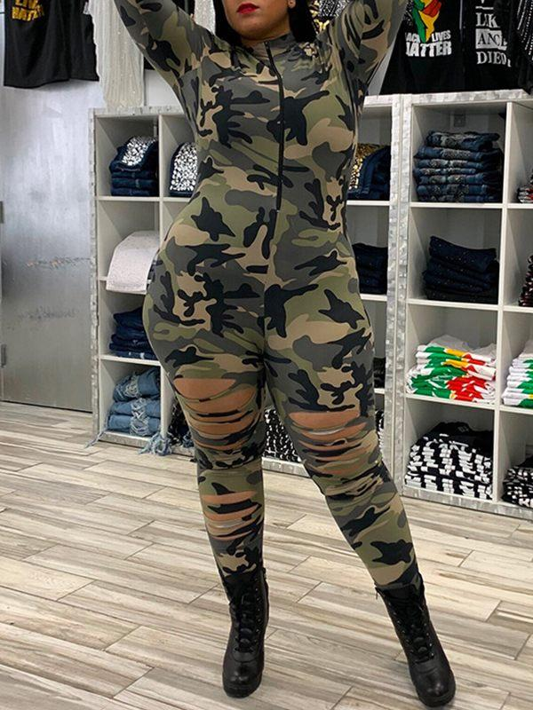 Camo Zip-Front Ripped Jumpsuit