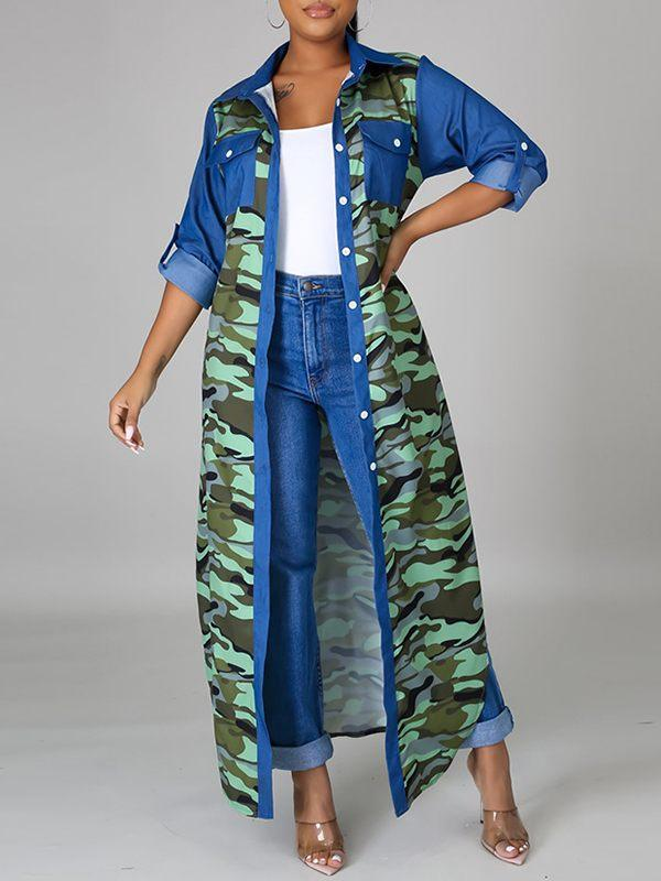 Denim Combo Camo Shirt Dress