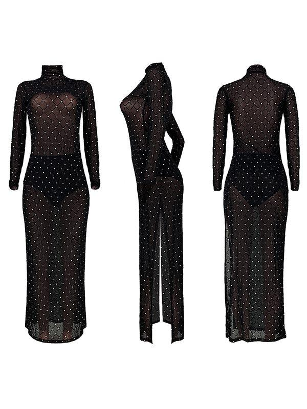Dot Net Slit Sheer Dress