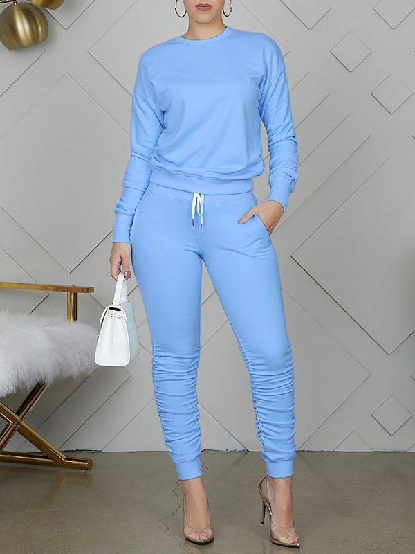 Ruched Solid Sweatshirt & Pants Set