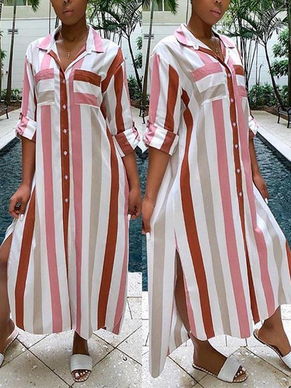 Stripe Button-Down Shirt Dress