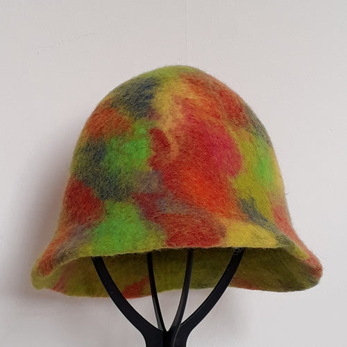 Multi-Coloured Tea Cosy Felt Hat - Thyme for U