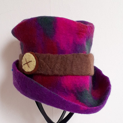 Purple Button Felt Hat - Thyme for U