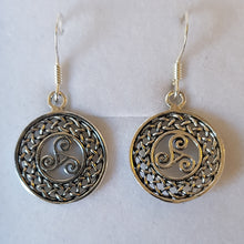 Load image into Gallery viewer, Silver Circular Swirly Celtic Knot Earrings - Thyme for U
