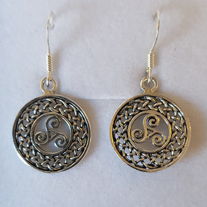 Silver Circular Swirly Celtic Knot Earrings - Thyme for U