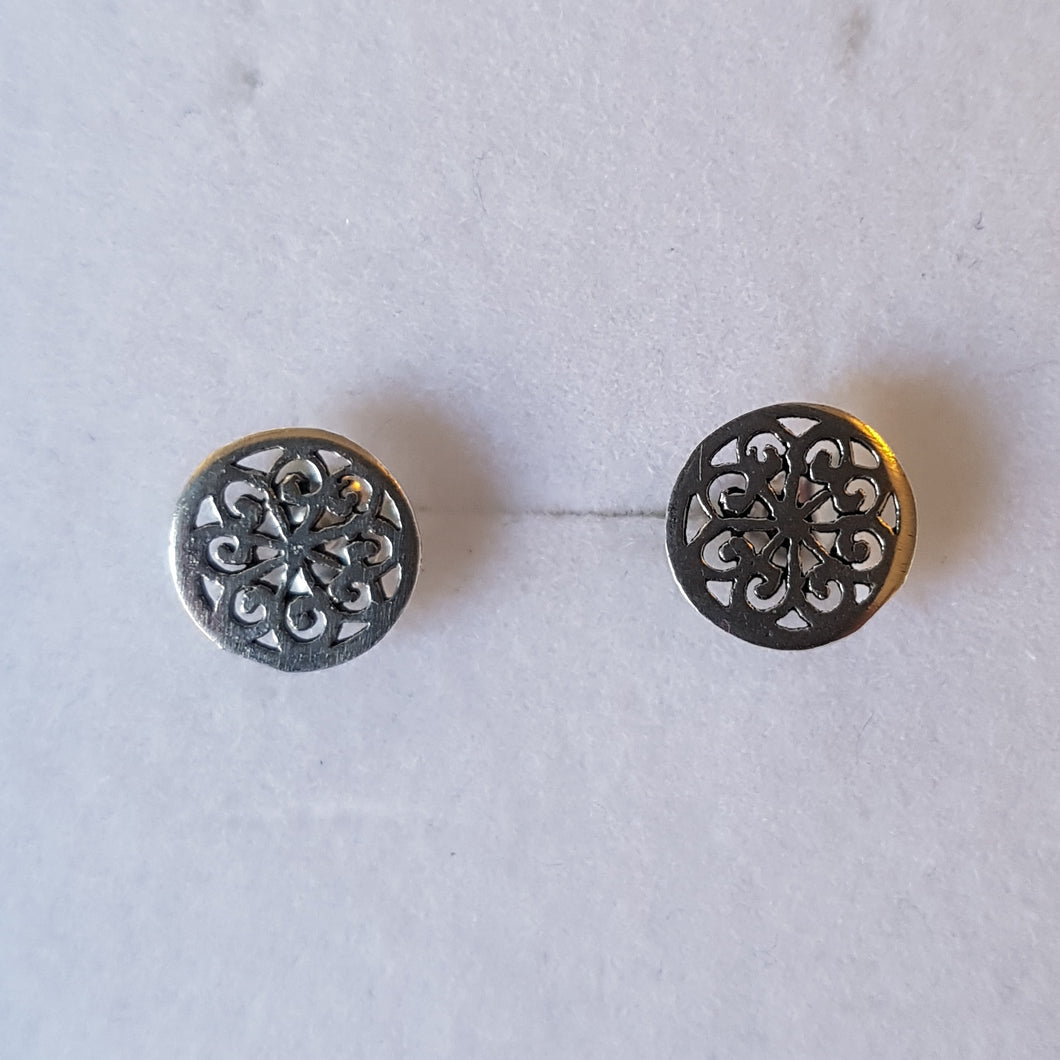 Silver Small Circular Knot Studs - Thyme for U