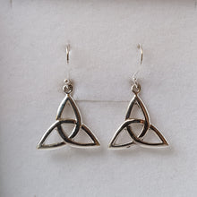 Load image into Gallery viewer, Silver Trinity Knot Triquetra Earrings - Thyme for U