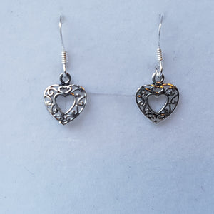 Silver Filigree Heart Earrings - Thyme for U
