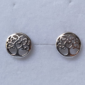 Silver Circular Tree Studs - Thyme for U
