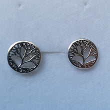 Load image into Gallery viewer, Silver Circular Leaf Studs - Thyme for U