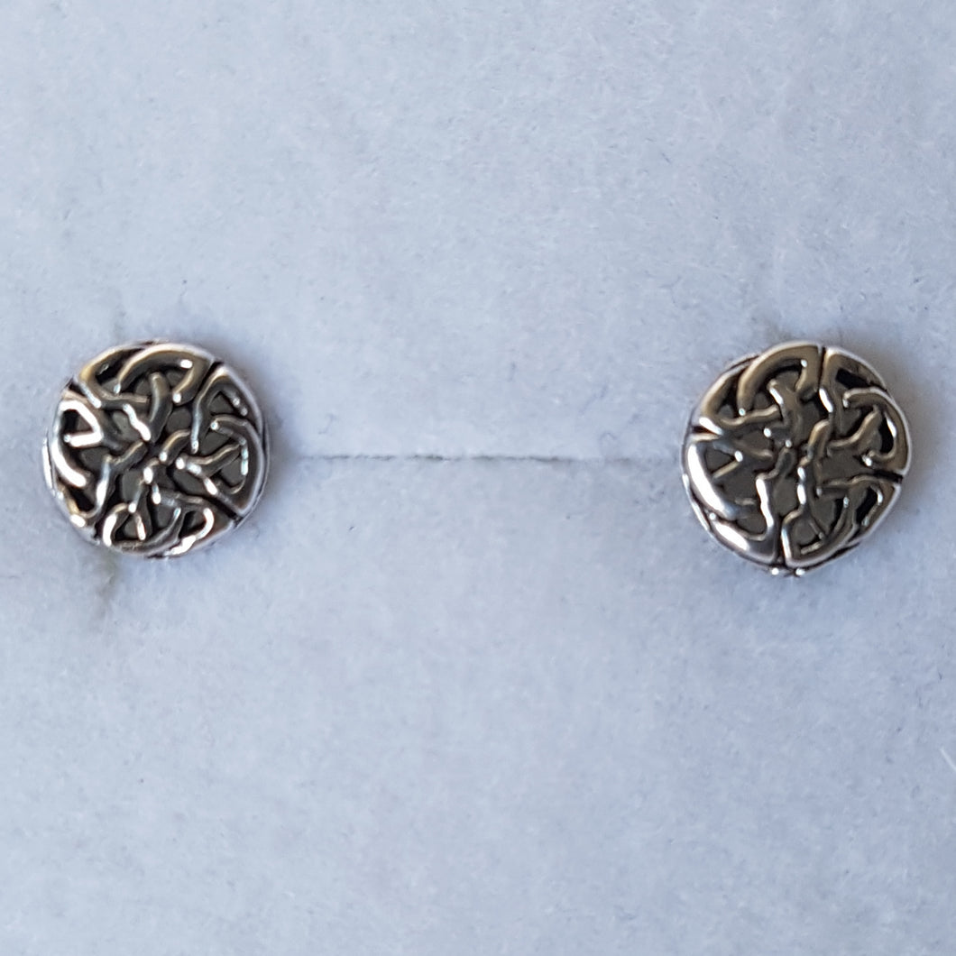 Small Silver Circular Celtic Knot Studs - Thyme for U