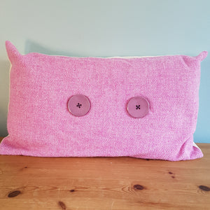 Handmade pink tweed oblong cushion - Thyme for U