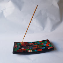 Load image into Gallery viewer, Green and Red Mosaic Incense Plate - Thyme for U