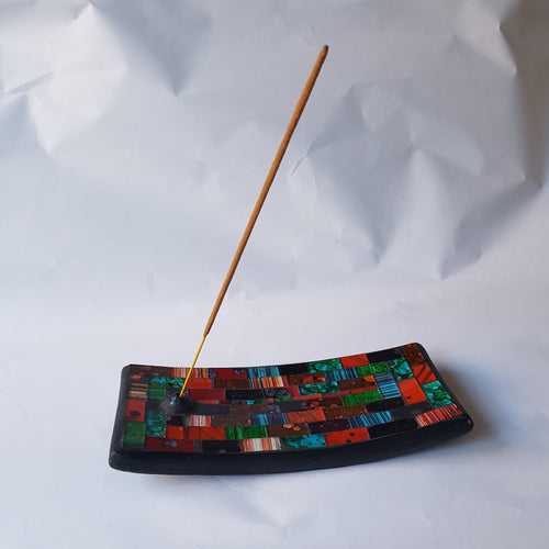 Green and Red Mosaic Incense Plate - Thyme for U