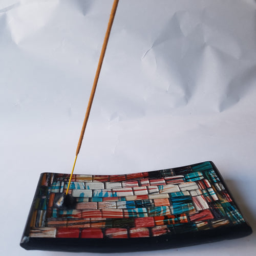 White, Orange and Blue Mosaic Incense Plate - Thyme for U