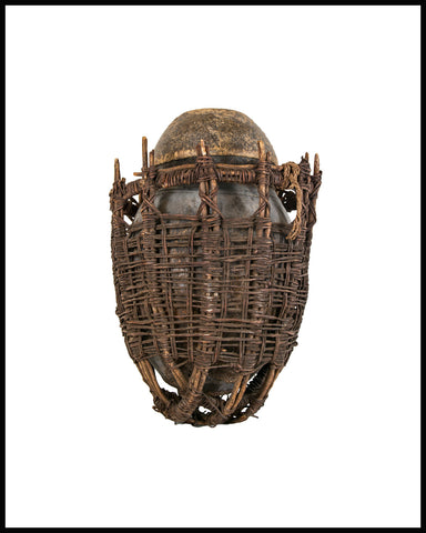 Vintage African Gourd with Basket