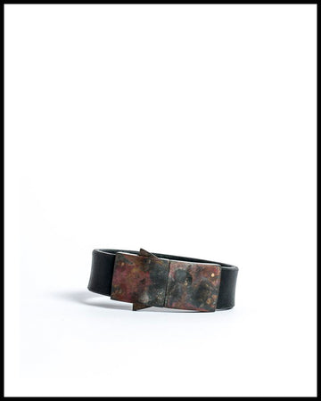 Box Lock Bracelet in Buffalo Leather and Dirty Brass