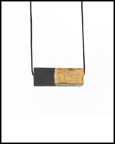 Ceramic Scale Necklace in Granite with Gold Luster