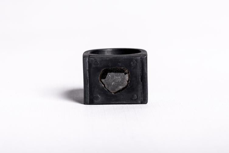 Single Plate Ring with Raw Diamond in Oxidized Silver