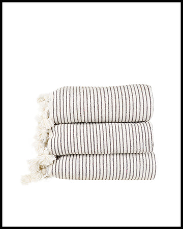 Kesh Bed Cover in White and Brown Thin Stripe