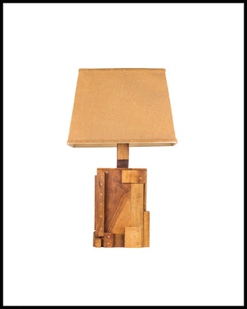 Vintage Brutalist Wood Table Lamp