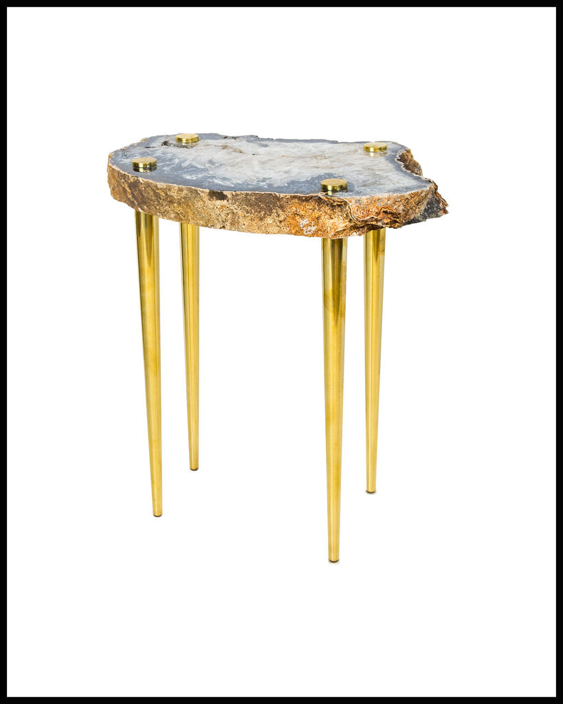 U0027POWER OF 10u0027 AGATE, QUARTZ, AND SOLID BRASS SIDE TABLE   Thick. U0027
