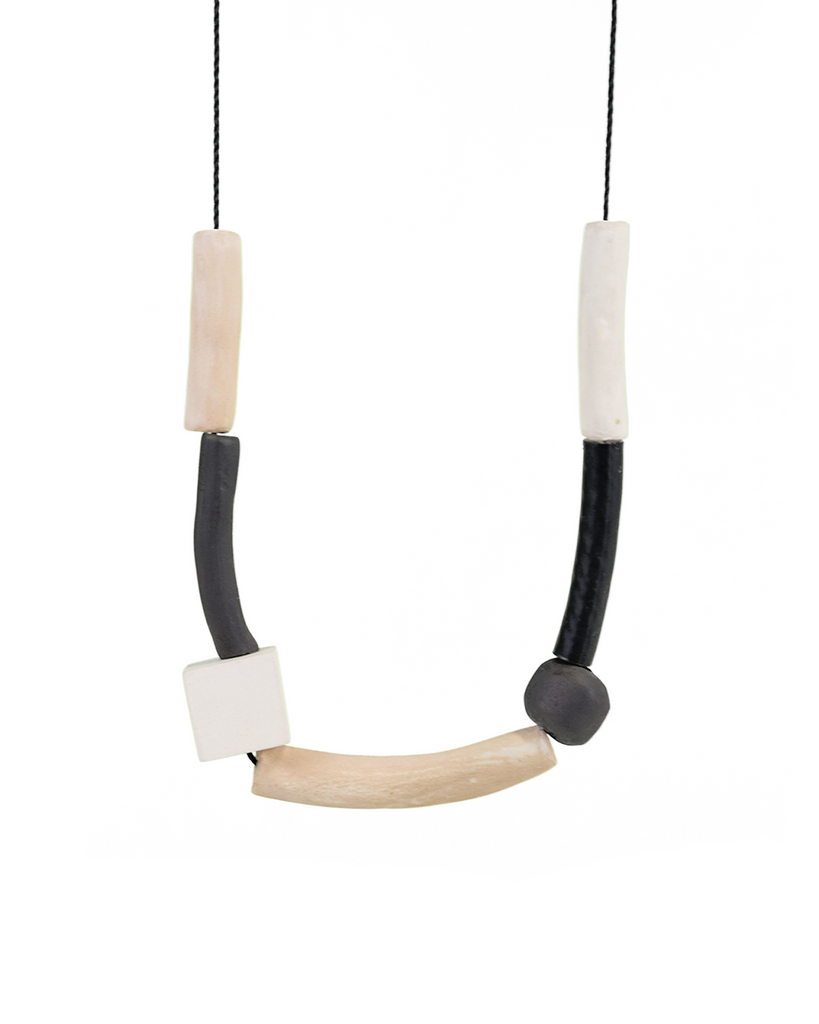 Ceramic Multielement Necklace in Nude, Granite and White