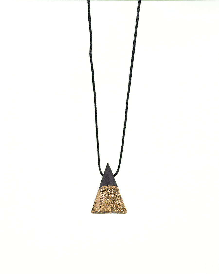 Ceramic Pyramid Necklace with Gold Luster
