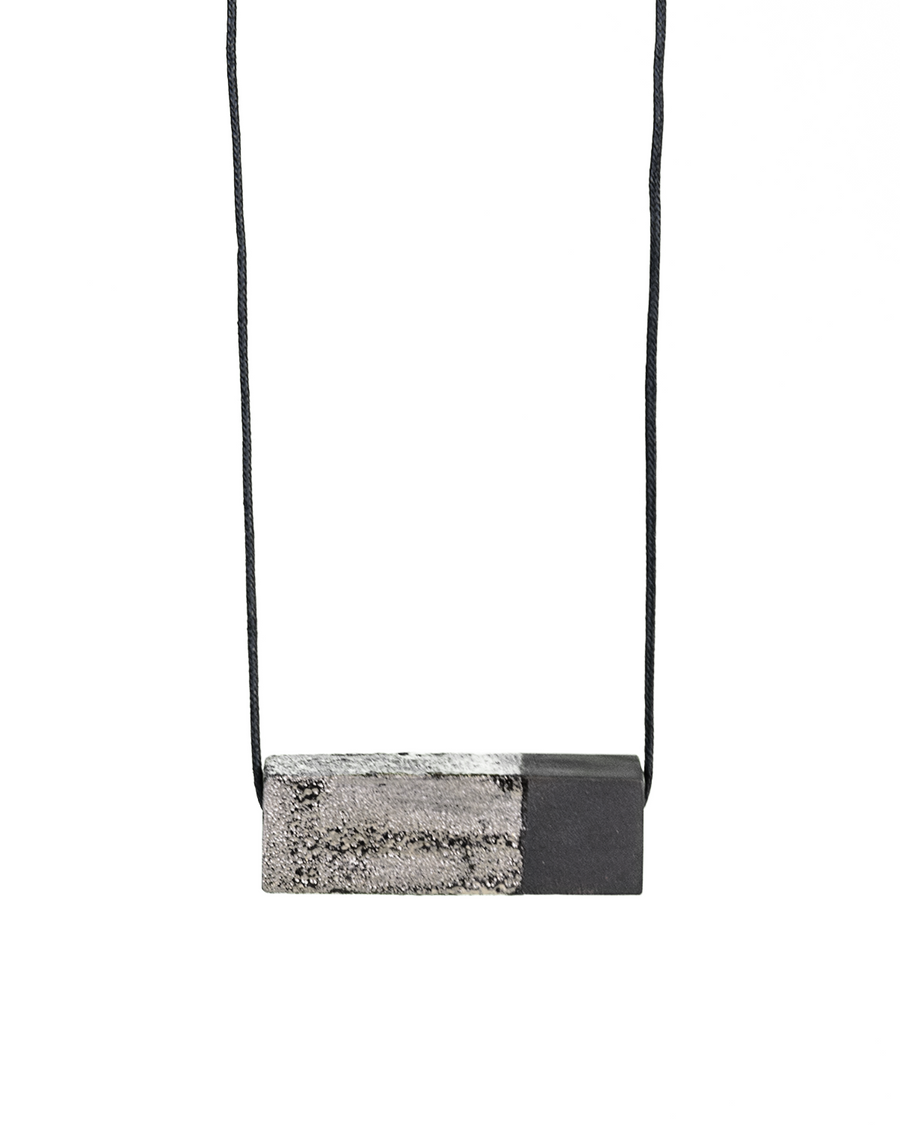 Ceramic Scale Necklace in Granite with Platinum Luster