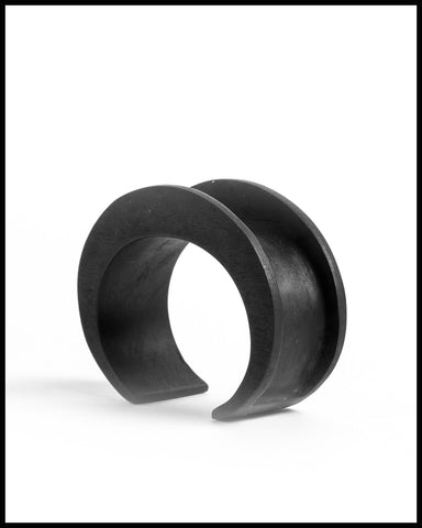 Crescent Channel Bracelet in Black Wood
