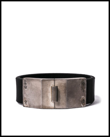 Box Lock Bracelet in Buffalo Leather and Acid Silver