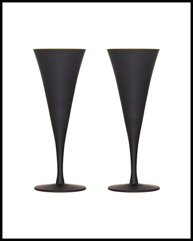 SUGAHARA GLASS CHAMPAGNE FLUTE  PAIR IN MATTE BLACK