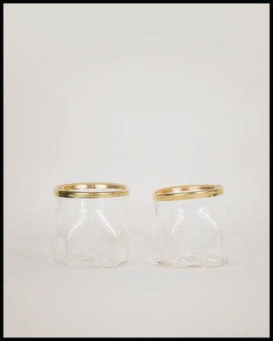 Pair of Gold Lipped Pentagon Cups