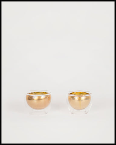 Pair of Handblown Gold Sake Cups