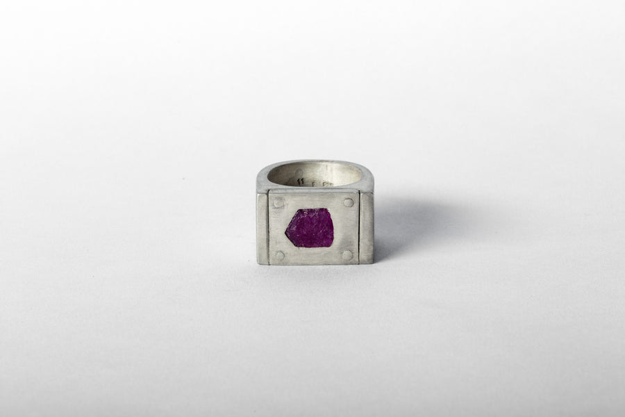Ruby Slab Plate Ring 17mm