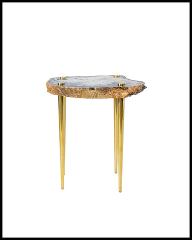 'POWER OF 10' AGATE, QUARTZ, AND SOLID BRASS SIDE TABLE - Thin