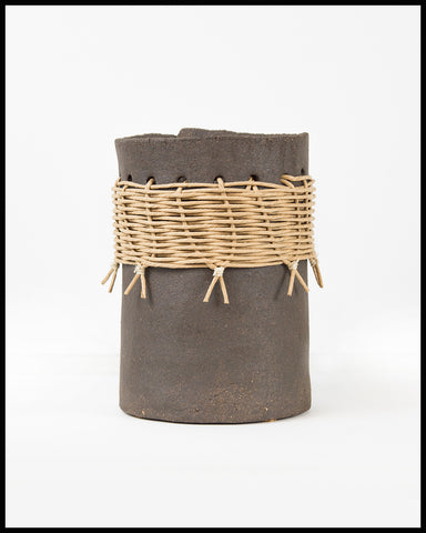 Large Utensil Pot with Caning