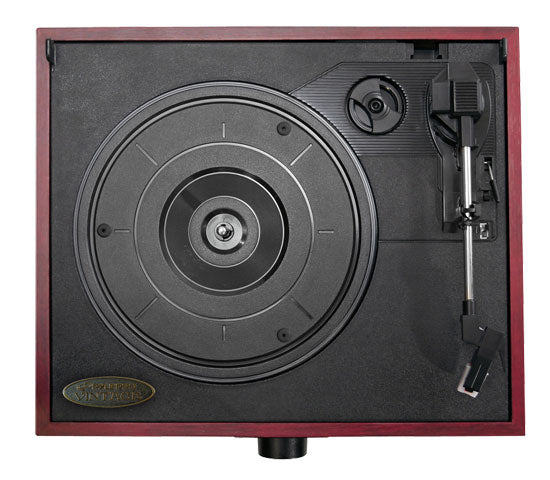 Joan Red Cherrywood Record Player - Overhead - Clink
